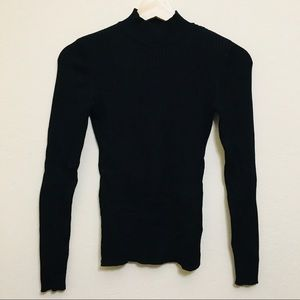 H&M black ribbed turtleneck sweater for women